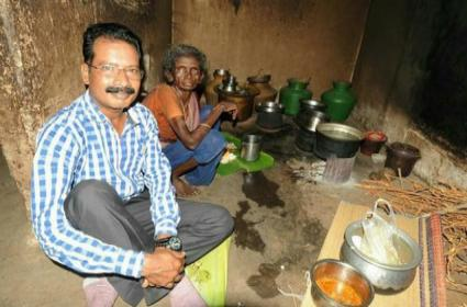 Collector Anbalagan Visit Old Woman House And Do Lunch - Sakshi